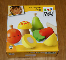 NEW PlanToys 5337 Wooden Cut Fruit and Vegetable Set, Play Food, Play Kitchen