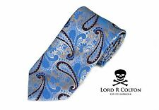 Lord R Colton Masterworks Tie Sky & Silver Map of Your Head Necktie $195 New