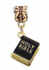 Black Holy Bible Christian Gold 3D Book Dangle Charm for European Bead Bracelets