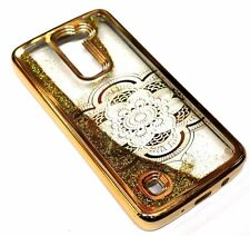 For LG K10 - Gold Faded Flower Gold Glitter Stars Sparkle Liquid Water Skin Case