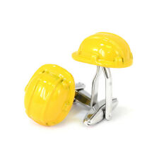Yellow Hard Hat Cufflinks New & Boxed builders construction AJ195
