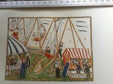 1920s Colout Woodcut Print by Edgard Tijtgat of carousels at a fairground