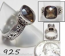 Stunning Vtg Signed Ring, Checkerboard-Cut Smoky Quartz, 925 Wide Scroll Band, 8