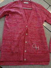 Gilly Hicks Cardigan Sweater long Pink M Womens prep bright colors