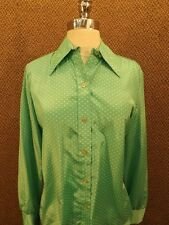 Vtg 60s NOS NEW Green & White Dots Silk Shine Shirt M Can wear 2 ways incl scarf