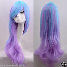 Fashion Lolita Long Curly Wavy Full Wig Hair Rainbow Colors Cosplay Anime Party