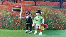 PLAYMOBIL ADULTE COUPLE PRIDE ORGULLO MARIAGE POUR TOUS GAY LESBIAN RARE LBGT