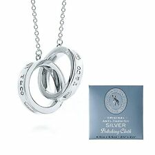 NEW Tiffany & Co. 1837 Interlocking Necklace Circle Pendant polishing cross F/S