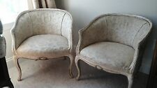 Antique Vintage French Louis XV Rounded Back Salon Chairs, Pair