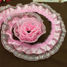 5yards 3-Layer 45mm Width Pink organza Lace Gathered  Pleated sequined Trim NO28