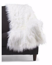 "Cynthia Rowley Mongolian Faux Fur Throw Blanket White Warm Shag 50"" X 60"" NWT"