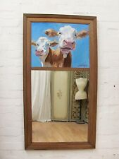 VINTAGE FRENCH OAK TRUMEAU MIRROR WITH CONTEMPORARY ORIGINAL PAINTING