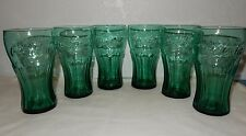 Set of 6 Evergreen Teal  Coke Coca Cola Glasses 17 ounce to brim