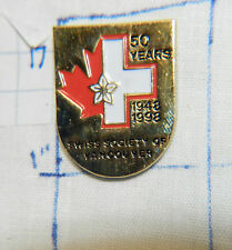 CANADA SWISS SOCIETY OF VANCOUVER 1998 50 YEARS SOUVENIR VINTAGE METAL LAPEL PIN