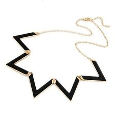 Black Triangle Zig Zag Triangle Statement Necklace Premium Quality