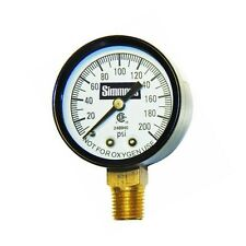 """Simmons 1306 Well Pressure Gauge Air Steam or Water 200 psi 1/4"""" Connection"""