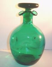 Blenko Glass Decanter Teal Green Pinched Hand Blown Decanter Mid Century Modern