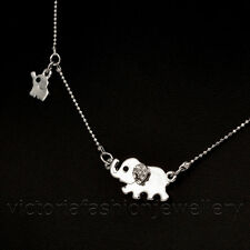 MOTHER & BABY ELEPHANT NECKLACE, Sterling Silver Plate DAUGHTER MUM Pendant Gift