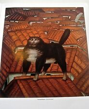"""FERNANDO  BOTERO poster print """"Cat on the Roof)1978 -A FAT CAT STANDS ON A ROOF"""""""