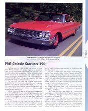 1961 1962 Ford Galaxie Starliner 500 XL 390 ci 406 ci Info/Specs/photo 11x8