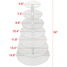 7-Tier Acrylic Round Cake Cupcake Stand Tower Display Birthday Wedding Party