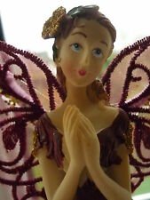 BURGUNDY RUBY RED FAIRY ANGEL TREE TOPPER CHRISTMAS TREE DECORATION NEW BOXED