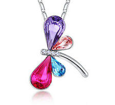 Fashion Lady Jewelry dragonfly Silver Chain Rhinestone Crystal Pendant Necklace