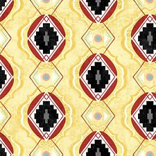 Fabric Western Aztec Indian Desert Tribe Adornit on Beige Cotton 5 Yards (+or- a