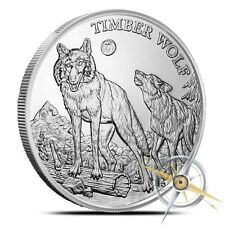 American Wildlife Series | Timber Wolf | 1 oz .999 Silver BU Collectors Round