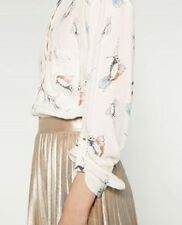 NWT ZARA ECRU BEIGE BIRDS BLOUSE/TOP/SHIRT LONG SLEEVED SIZE XL/32 ONLY ONE