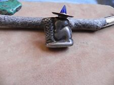 Vintage Mexican Sterling Silver Siesta Man Sombrero Pin Mini Perfume Bottle