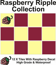 "6"" Tile Transfers Stickers 12 +  Free Printed transfer Raspberry Ripple collecti"