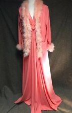 Vintage Prom Coral Peach Pink Long Maxi Dress Feather Jacket 2 Piece L 1970s V