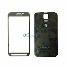 Green Front Screen Glass Battery Back Door For Samsung Galaxy S5 Active SM-G870A