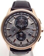 Citizen AT8113-04H Men's Rose Gold Tone Leather World Time A-T Chronograph Watch