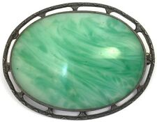 ART DECO ANTIQUE STERLING SILVER BROOCH PIN GREEN GLASS CABOCHON ACCENT JEWELRY