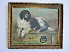 "Vintage 1941 Primitive Folk Art Painting of a Dog ""Buck"""
