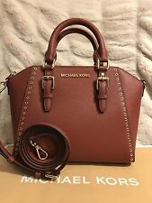 NWT MICHAEL KORS SAFFIANO LEATHER CIARA GROMMET MD MESSENGER BAG IN BRICK