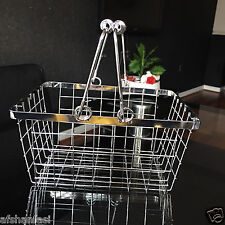 CHROME WIRE BATH KITCHEN storage basket caddy EGGS FRUIT CONDIMENTS BASKET BOX