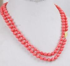 "long 36"" 6mm Japan Pink Coral Round Beads Gemstones Necklace AAA Grade"