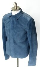 New BRIONI Electric Blue Suede Leather Zip Bomber Jacket Coat 48 S M NWT $4750!