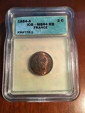 FRANCE NAPOLEON III 1854-A  2 CENTIMES COIN UNCIRCULATED, ICG CERTIFIED MS-64-RB