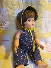 """OVERALLS & BONNET SET FOR VINTAGE 20"""" AMERICAN CHARACTER TOODLES BABY DOLL"""