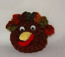Vintage Crochet Thanksgiving Turkey Head Holiday Pin Handmade Brown Fall