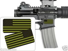 Pair American Flag OD Green Stickers Decals / Punisher AR-15 5.56 Stickers AR15