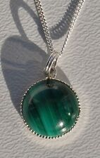 "Green Malachite Gem Necklace Sil Plate Pendant on 16 or18"" Sterling Silver Chain"