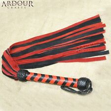 Genuine Suede Leather Flogger Red & Black Leather whip No Faux No Artifical