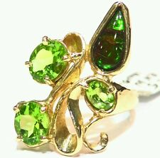 5.82CT 14K GOLD NATURAL PERIDOT ROUND CUT AMMONITE  VINTAGE ENGAGEMENT RING