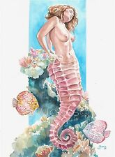 "ORIGINAL FANTASY ART ""JAELYN"" MERMAID WATERCOLOR PAINTING JVJONES"