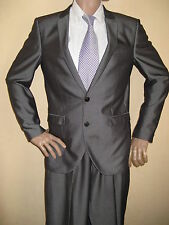 WORN ONCE NEXT METALLIC SILVER SLIM FIT SINGLE BREASTED SUIT 40R CHEST 34L WAIST
